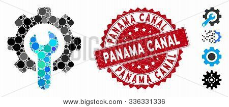 Mosaic Service Tools Icon And Corroded Stamp Seal With Panama Canal Caption. Mosaic Vector Is Formed