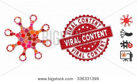 Mosaic Axenic Icon And Rubber Stamp Watermark With Viral Content Phrase. Mosaic Vector Is Formed Wit