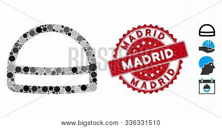 Mosaic Hardhat Icon And Grunge Stamp Watermark With Madrid Caption. Mosaic Vector Is Composed With H