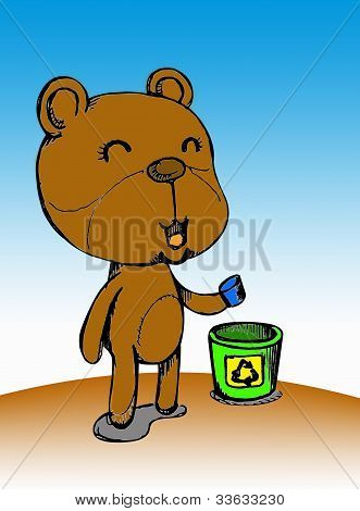Little bear with green recycle bin by hand sketching poster