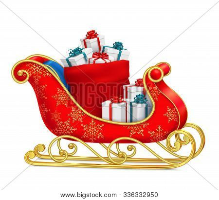 Santa Sleigh With Gifts Composition With Realistic Images Of Present Boxes On Red Sled With Ornament