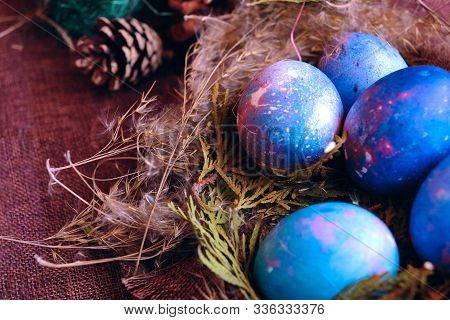Space Galactic Easter Eggs In Nest. Closeup