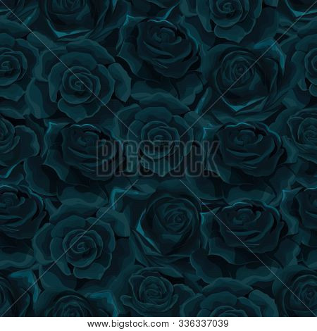Vector Flat Moonlight Rose Flowers Seamless Pattern Background Illustration