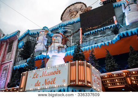 PARIS, FRANCE - November 17, 2019: Paris Tuileries Garden Christmas Market