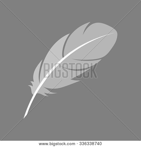 Feather Graphic Icon. Feather Of A Bird Sign Isolated On Gray Background. Vector Illustration
