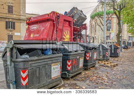 Rome, Italy - November 20 2019: Garbage Truck Collecting Waste Disposal. Municipal Ama Trash Vehicle