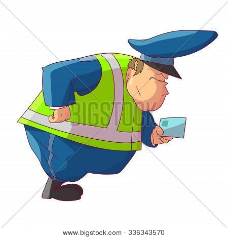 Colorful Vector Illustration Of A Fat Cartoon Traffic Police Officer