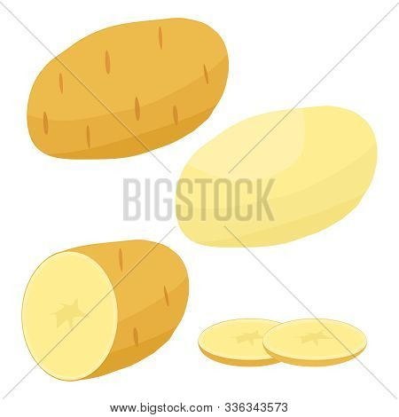 Potatoes, Cut Potatoes. Potato Icon. Vector Illustration Of A Potato Isolated On A White Background.