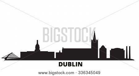 Irland, Dublin City Skyline Isolated Vector Illustration. Irland, Dublin Travel Black Cityscape