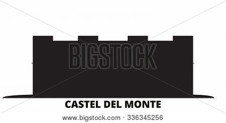 Italy, Apulia, Castel Del Monte City Skyline Isolated Vector Illustration. Italy, Apulia, Castel Del
