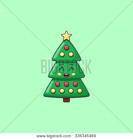 Cartoon Kawaii Christmas Tree With Grinning Face. Cute Green Christmas Tree With Decorations, Childi
