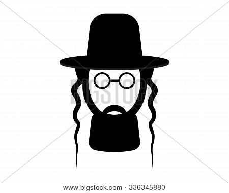 Jews Face In Hat And Glasses On A White Background