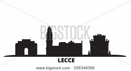 Italy, Lecce City Skyline Isolated Vector Illustration. Italy, Lecce Travel Black Cityscape