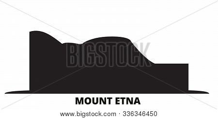 Italy, Mount Etna City Skyline Isolated Vector Illustration. Italy, Mount Etna Travel Black Cityscap