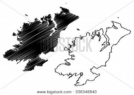 Donegal County Council (republic Of Ireland, Counties Of Ireland) Map Vector Illustration, Scribble