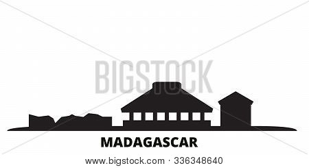 Madagascar City Skyline Isolated Vector Illustration. Madagascar Travel Black Cityscape