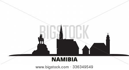 Namibia City Skyline Isolated Vector Illustration. Namibia Travel Black Cityscape