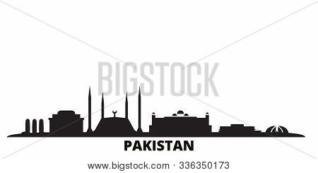 Pakistan, Islamabad City Skyline Isolated Vector Illustration. Pakistan, Islamabad Travel Black City