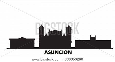 Paraguay, Asuncion City Skyline Isolated Vector Illustration. Paraguay, Asuncion Travel Black Citysc
