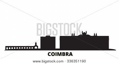 Portugal, Coimbra City Skyline Isolated Vector Illustration. Portugal, Coimbra Travel Black Cityscap