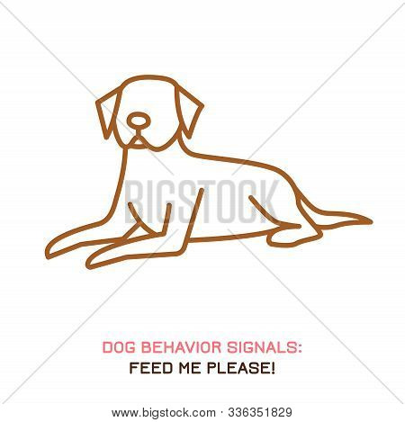 Dog Behavior Icon. Domestic Animal Or Pet Language. Feed Me Please. I Want A Treat. Begging. Simple