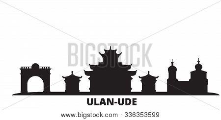Russia, Ulan Ude City Skyline Isolated Vector Illustration. Russia, Ulan Ude Travel Black Cityscape