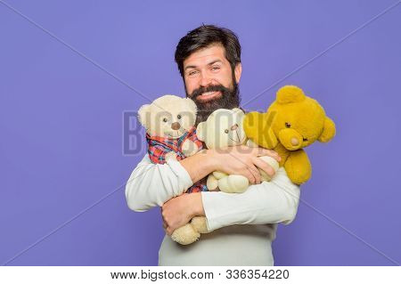 Birthday Or Anniversary. Bearded Man With Plush Toy. Holiday Celebration. Man In Plaid Shirt With Te
