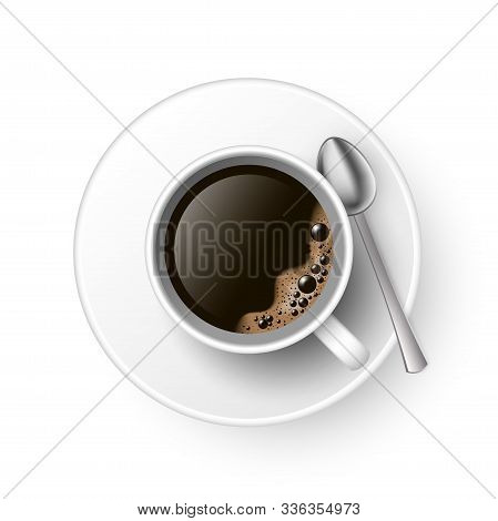 A Cup Of Black Coffee With Spoon And Saucer Top View. Realistic Vector Illustration. 3d Model Americ