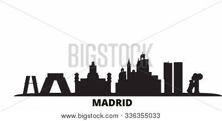 Spain, Madrid City City Skyline Isolated Vector Illustration. Spain, Madrid City Travel Black Citysc
