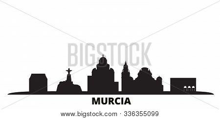 Spain, Murcia city skyline isolated vector illustration. Spain, Murcia travel black cityscape poster