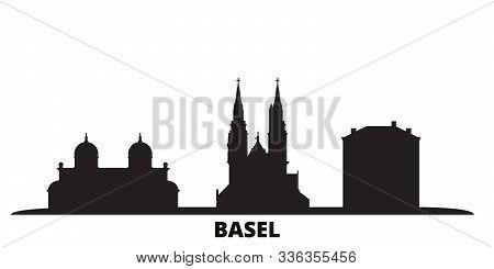 Switzerland, Basel City Skyline Isolated Vector Illustration. Switzerland, Basel Travel Black Citysc
