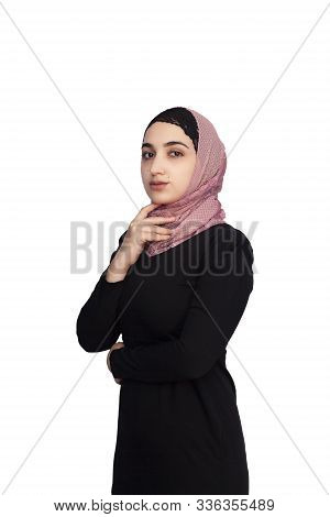 Stylish Muslim Woman In Traditional Islamic Clothing. Portrait Of Beautiful Middle-eastern Girl In H