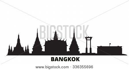 Thailand, Bangkok City Skyline Isolated Vector Illustration. Thailand, Bangkok Travel Black Cityscap