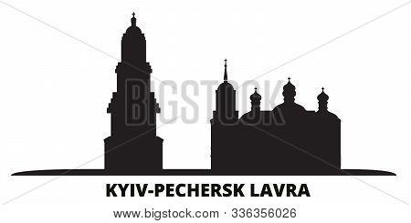 Ukraine, Kyiv, Pechersk Lavra City Skyline Isolated Vector Illustration. Ukraine, Kyiv, Pechersk Lav