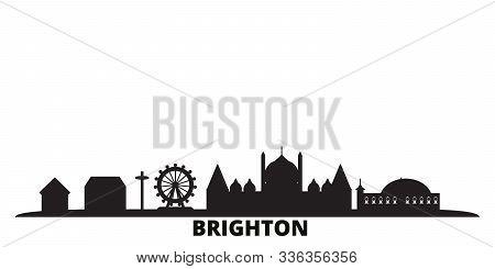United Kingdom, Brighton City Skyline Isolated Vector Illustration. United Kingdom, Brighton Travel