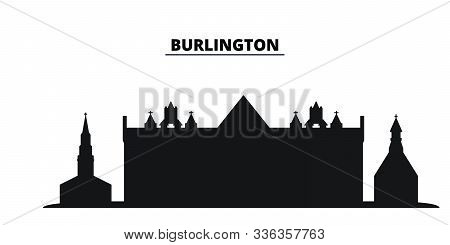 United States, Burlington City City Skyline Isolated Vector Illustration. United States, Burlington