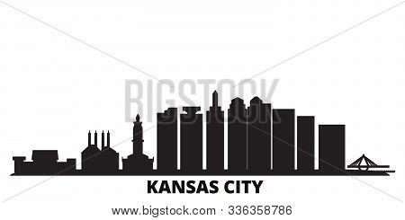 United States, Kansas City City Skyline Isolated Vector Illustration. United States, Kansas City Tra