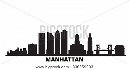 United States, New York Manhattan City Skyline Isolated Vector Illustration. United States, New York