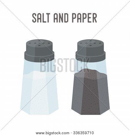 Vector Salt, Pepper Set, Kitchenware. Saltshaker And Pepperbox