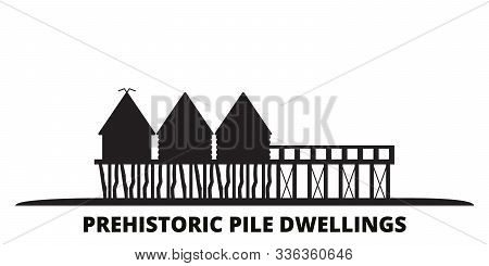 France, Prehistoric Pile Dwellings Around The Alps Landmark City Skyline Isolated Vector Illustratio
