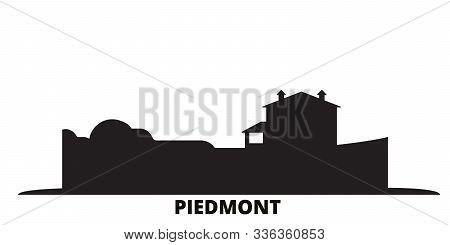 Italy, Piedmont, Langhe Roero And Monferrato City Skyline Isolated Vector Illustration. Italy, Piedm