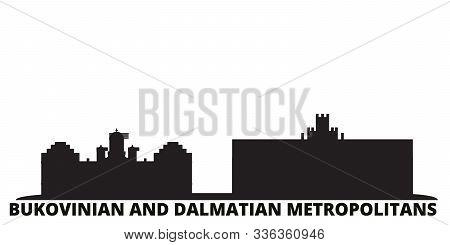 Ukraine, Bukovinian And Dalmatian Metropolitans City Skyline Isolated Vector Illustration. Ukraine,