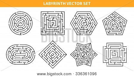 Labyrinth Game Black Set With Eight Isolated Maze Schemes Of Various Shape On Blank Background Vecto