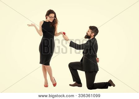 Last Romantic On The Earth. Why Do Men Get Down On One Knee To Propose. Proposal Of Marriage Concept