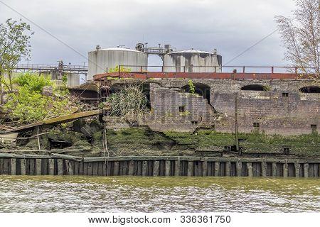 Rundown Industrial Scenery Around The Port Of Hamburg