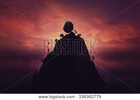 Man On Top Of Mountain Hill Pushing Down Big Boulders To Exclude Other Competitors Reach The Top And