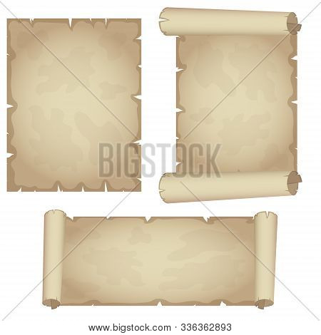 Set Textured Papyrus Scrolls Isolated On White Backgrund. Vector.