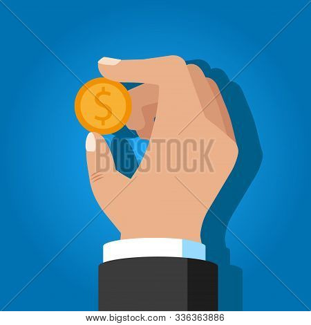 Insert Coin Or Pay Money. Flat Vector Illustration.