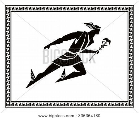 Ancient Greek God Of Trade And Travel Hermes Or Mercury. Stylized Vector Pattern With Traditional Gr
