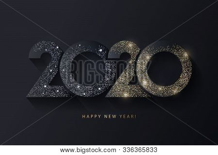 Happy New Year 2020 Design. Modern Trendy 2020 Glittering Black And Gold Numbers Isolated On Black B